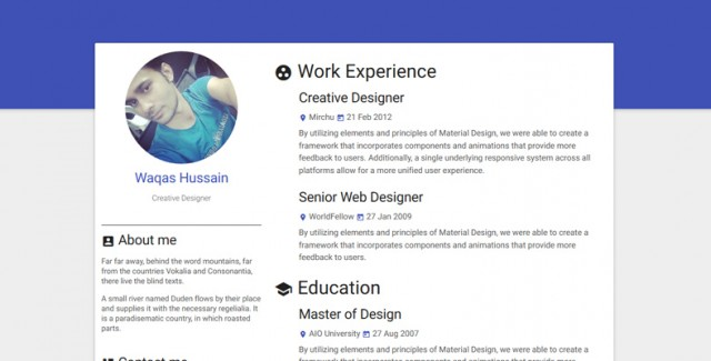 Materialize Responsive HTML Resume