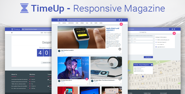 TimeUp Magazine blog Template Material Design