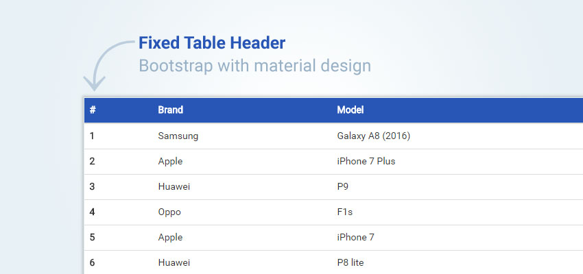 Fixed Table Header in Bootstrap with material design